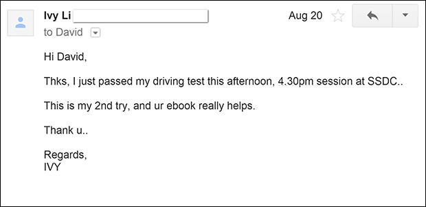 Pass Singapore Driving Test with One Try Book Testimonial
